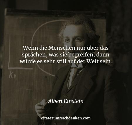 Wenn die Menschen nur über das sprächen, was sie begreifen, dann würde es sehr still auf der Welt sein. - Albert Einstein