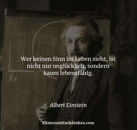 Wer keinen Sinn im Leben sieht, ist nicht nur unglücklich, sondern kaum lebensfähig. - Albert Einstein