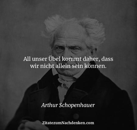 All unser Übel kommt daher, dass wir nicht allein sein können. - Arthur Schopenhauer