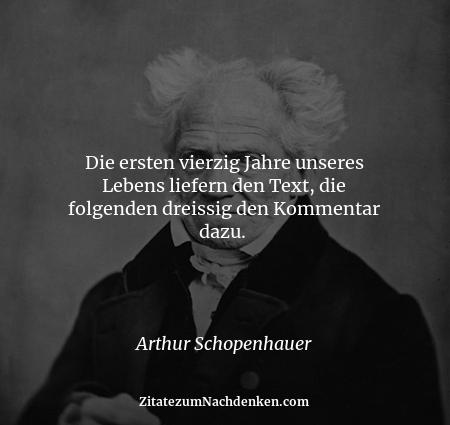 Die ersten vierzig Jahre unseres Lebens liefern den Text, die folgenden dreissig den Kommentar dazu.  - Arthur Schopenhauer