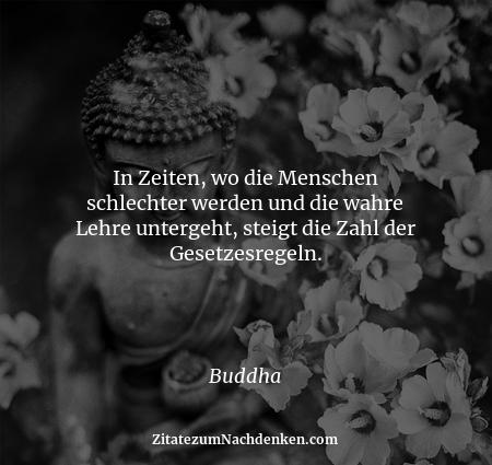 In Zeiten, wo die Menschen schlechter werden und die wahre Lehre untergeht, steigt die Zahl der Gesetzesregeln. - Buddha