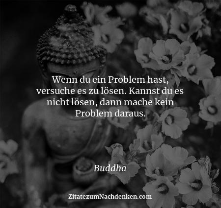 Wenn du ein Problem hast, versuche es zu lösen. Kannst du es nicht lösen, dann mache kein Problem daraus. - Buddha
