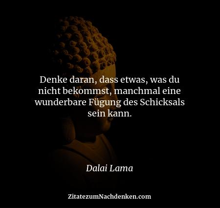 Denke daran, dass etwas, was du nicht bekommst, manchmal eine wunderbare Fügung des Schicksals sein kann. - Dalai Lama