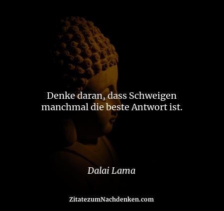 Denke daran, dass Schweigen manchmal die beste Antwort ist. - Dalai Lama
