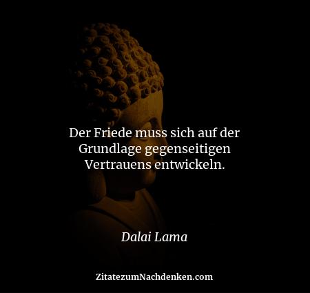 Der Friede muss sich auf der Grundlage gegenseitigen Vertrauens entwickeln. - Dalai Lama