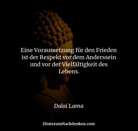 Eine Voraussetzung für den Frieden ist der Respekt vor dem Anderssein und vor der Vielfältigkeit des Lebens. - Dalai Lama