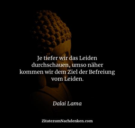 Je tiefer wir das Leiden durchschauen, umso näher kommen wir dem Ziel der Befreiung vom Leiden. - Dalai Lama