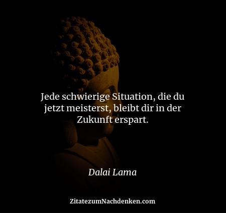 Jede schwierige Situation, die du jetzt meisterst, bleibt dir in der Zukunft erspart. - Dalai Lama