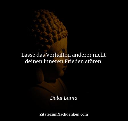 Lasse das Verhalten anderer nicht deinen inneren Frieden stören. - Dalai Lama