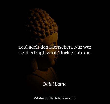 Leid adelt den Menschen. Nur wer Leid erträgt, wird Glück erfahren. - Dalai Lama