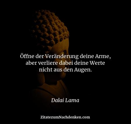 Öffne der Veränderung deine Arme, aber verliere dabei deine Werte nicht aus den Augen. - Dalai Lama