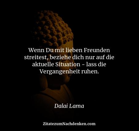 Wenn Du mit lieben Freunden streitest, beziehe dich nur auf die aktuelle Situation - lass die Vergangenheit ruhen. - Dalai...