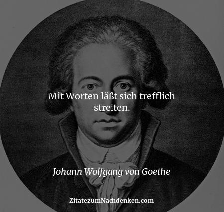 Mit Worten läßt sich trefflich streiten. - Johann Wolfgang von Goethe